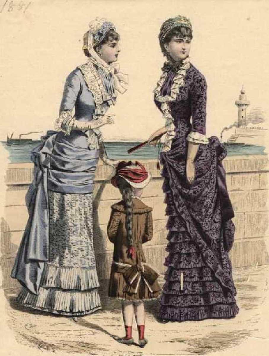 1881: Victorian Mulher modas à beira-mar