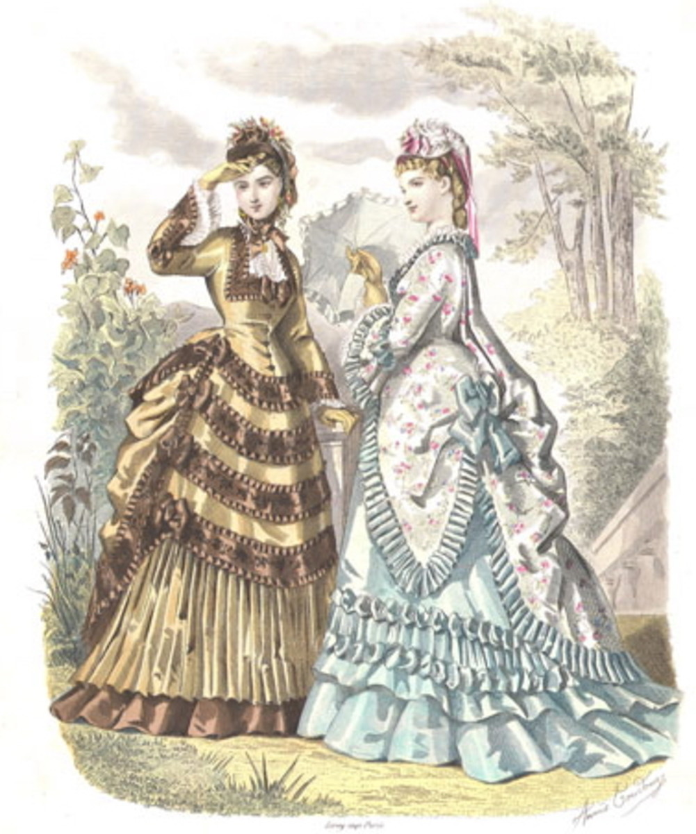 1873: assorted Victorian womens fashions