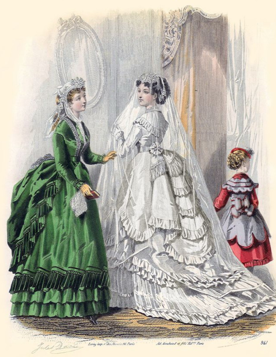 1869: Victorian bridal dress in white with bustle and attendant in green