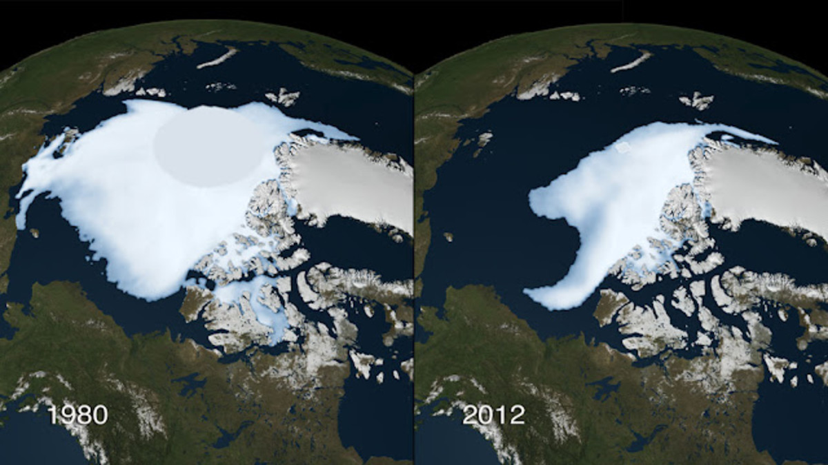 Recent Satellite photos of the Arctic from 2012 with a comparison