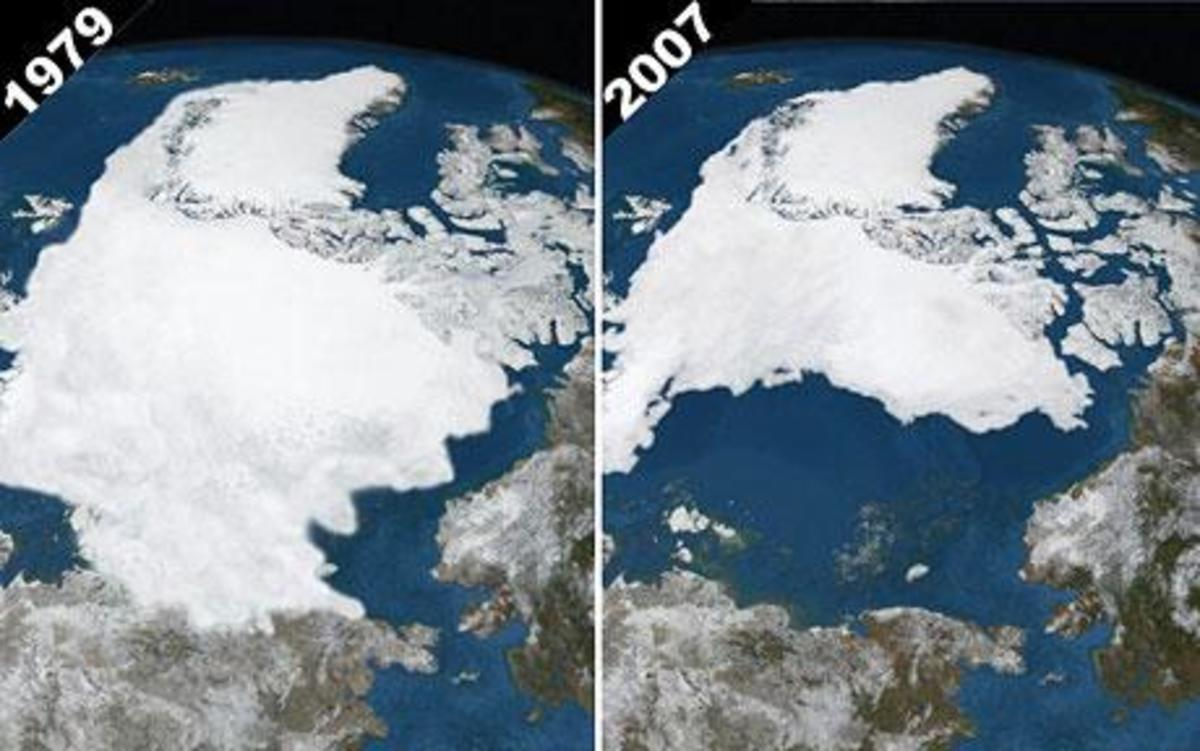 Arctic sea-ice in September 1979 and 2007, showing the biggest reduction since satellite surveillance began.