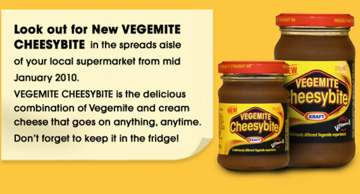 Cheesybite - The new Vegemite and Cheese product. Did not catch on