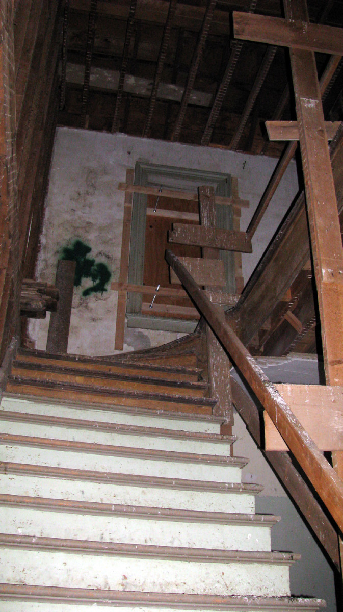Stairway to the third floor... where I detected the most paranormal activity.  This often seems to be the case with haunted buildings.  The attic or top floors are usually the most active.  I have no idea why that is.