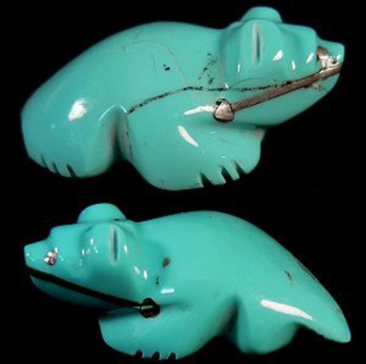 Debra Gasper turquoise badger with silver heartline