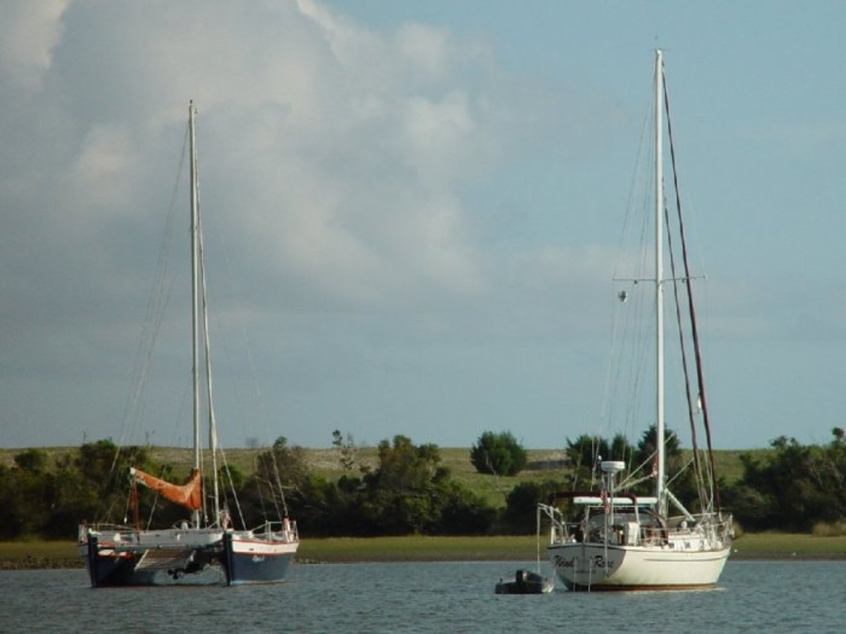 Sailboats at anchor in Taylor's Creek.