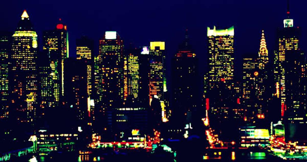New York City skyline at night.