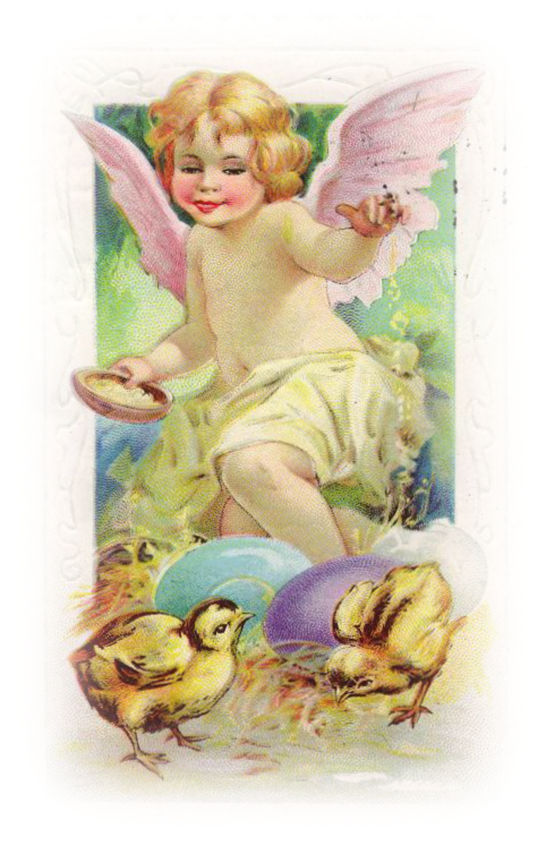 Free vintage Easter images: Angel with Easter egg and two baby chicks