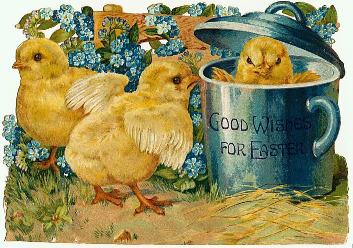 Free vintage Easter clipart images: Vintage yellow baby Easter chicks