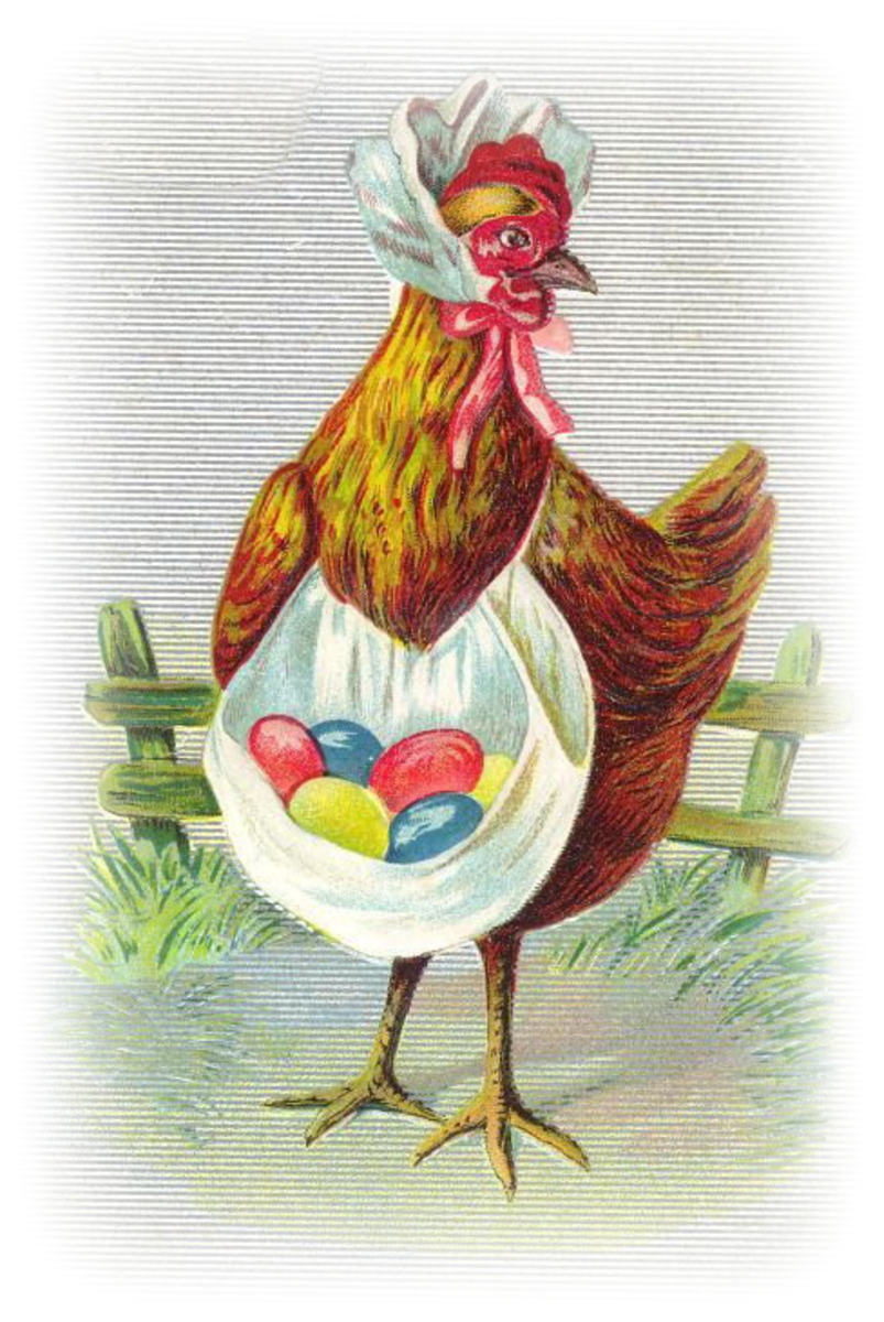 Free vintage Easter clip art images: Mother chicken with colored Easter eggs