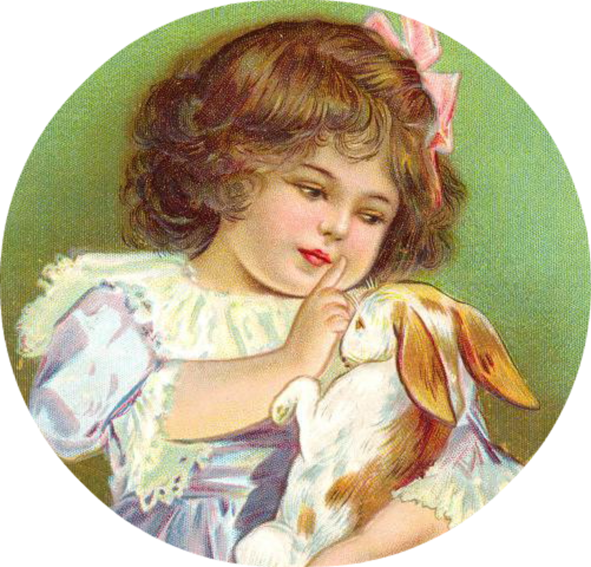 Vintage Easter images: Little girl with Easter bunny