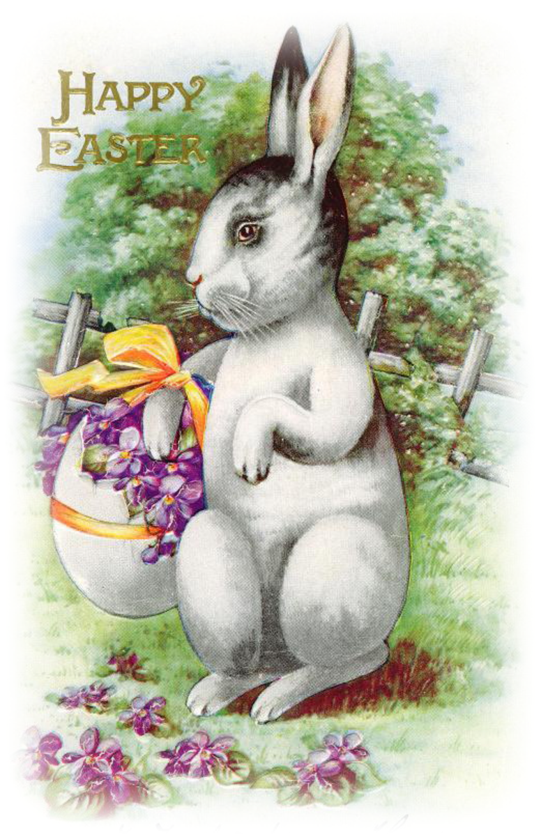 Free vintage Easter images: Easter bunny with an egg basket filled with violets