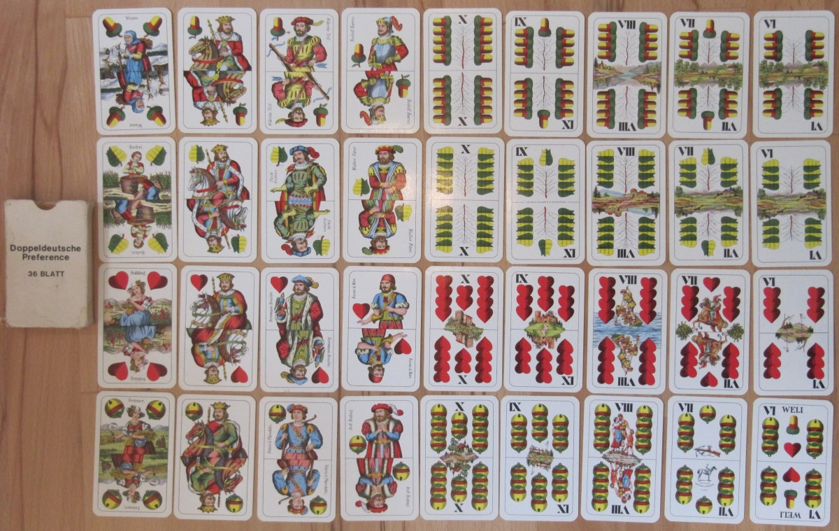A German set of 36 cards for playing 66.
