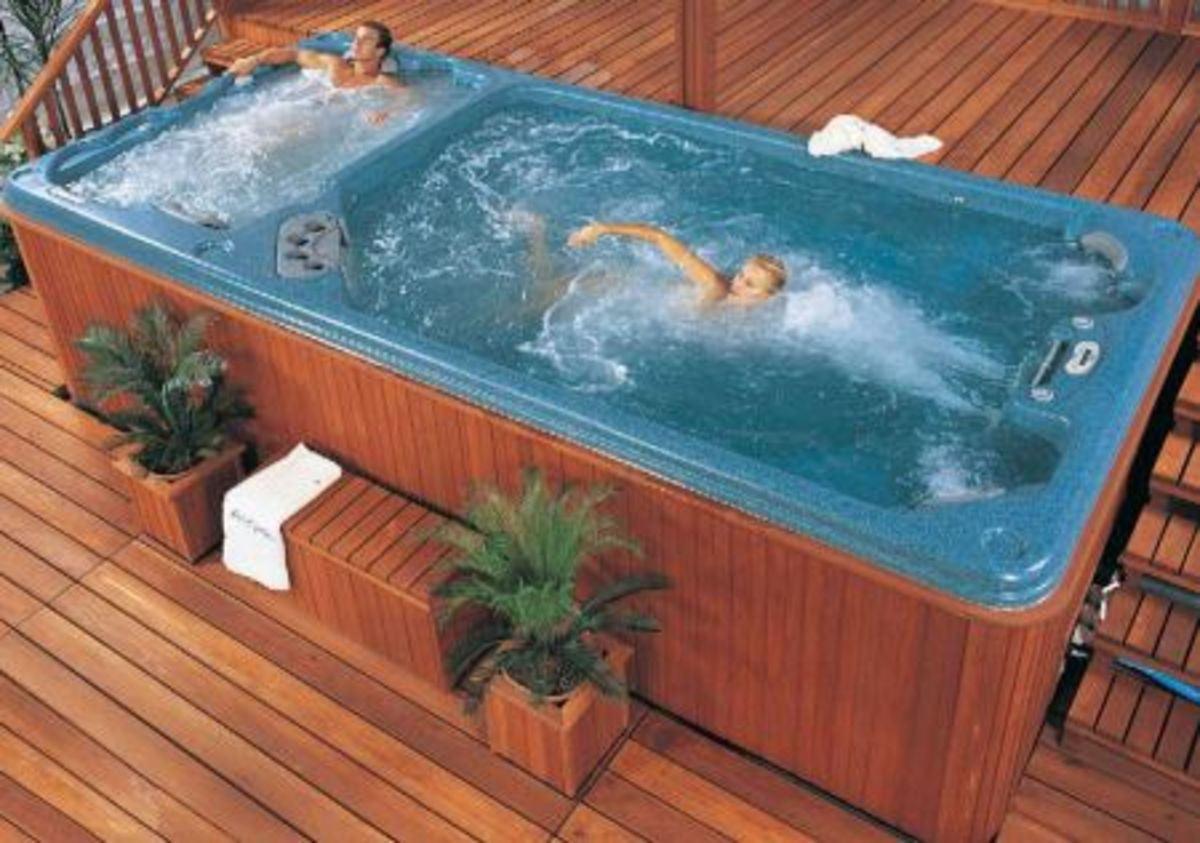 Calspa swim spa with separate hot tub