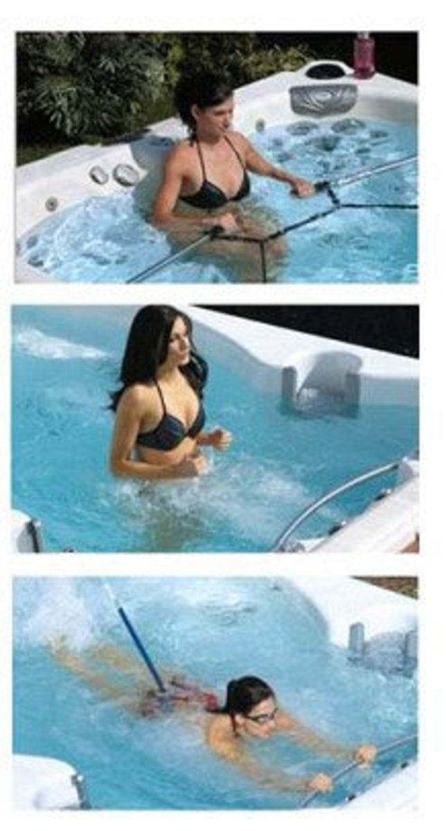 Fitness Training in the Calspa Swim Spa F1257 Hot Tub