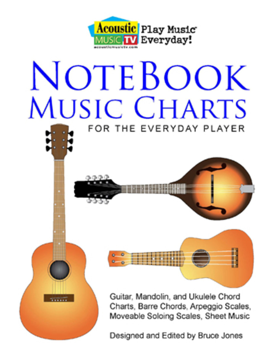 New pdf book of free Guitar, Mandolin, and Ukulele Chord Charts, Barre Cords, Arpeggio Scales, Movable Soloing Scales and Sheet Music from AcousticMusicTV.com