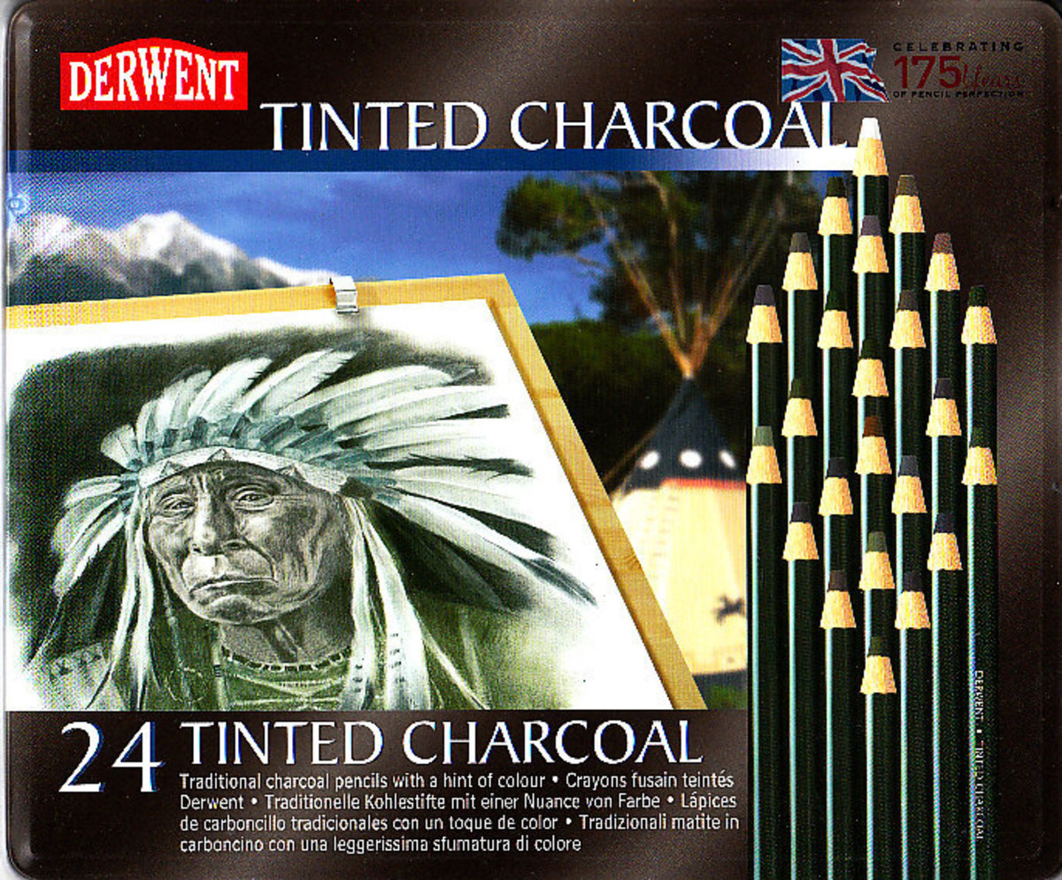 Derwent Tinted Charcoal Pencils tin lid, 24 color set showing sample art from Derwent.