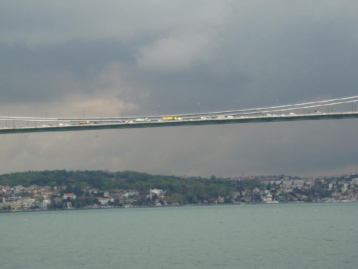 Not the best photo from Istanbul, but it perfectly depicts what this city is about: Europe and Asia meet through tended bridges, both physical and metaphorical. This is the Easternmost, longest bridge over the Bosphorus, Fatih Sultan Mehmet Bridge
