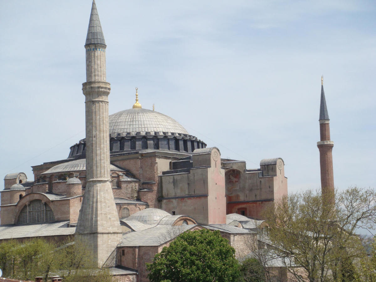 "Hagia Sophia from a rooftop, a restaurant that had the mandatory tables on the street, too, AND hosted a hidden jewel on its rooftop. TIP: Many restaurants and bars have rooftops, if you're ever in Istanbul, be sure to ask ""do you have a rooftop?"""