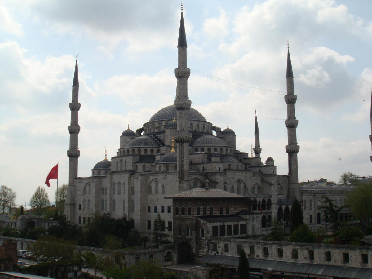 Sultan Ahmed Mosque, better known as The Blue Mosque.  One of the breathtaking sights in the city. Photo taken from  a rooftop, see more on that below.
