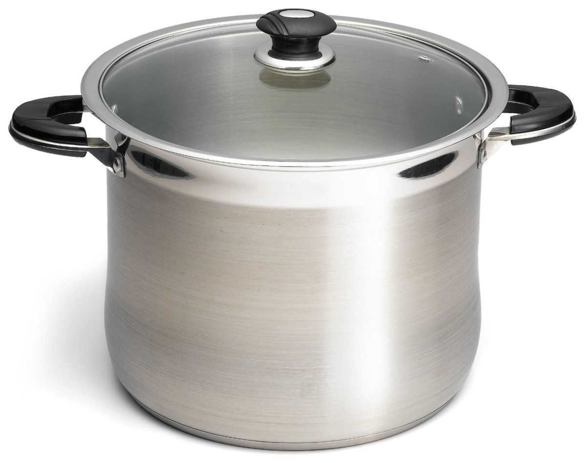 The Prime Pacific 18/10 Stainless Steel 20 Quart Stock Pot With Glass Lid that is shown here is just one of many stock pots that make it easy to use while boiling peppers.