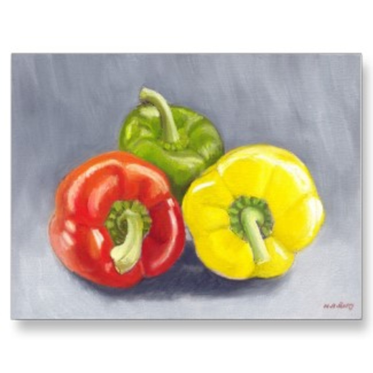 Print of a still-life painting of red, green and yellow bell peppers. Painting by Nicolette Amanda Berry