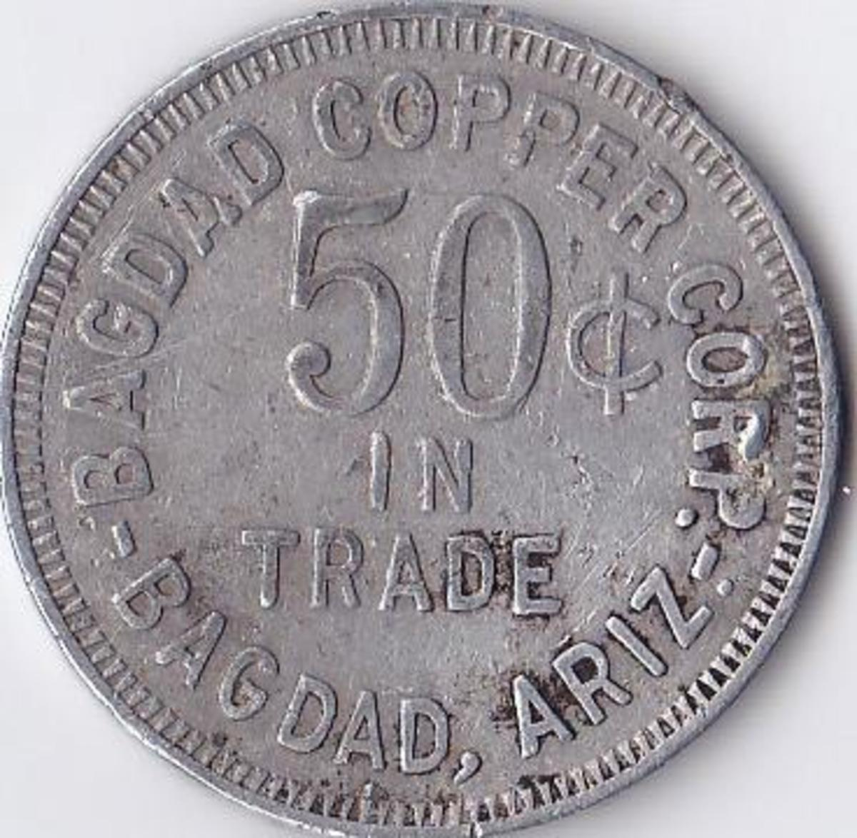 This is not a saloon token, but is a territorial trade token issued by a copper mine settlement in Bagdad Arizona. Image copyright Linda Lantin.