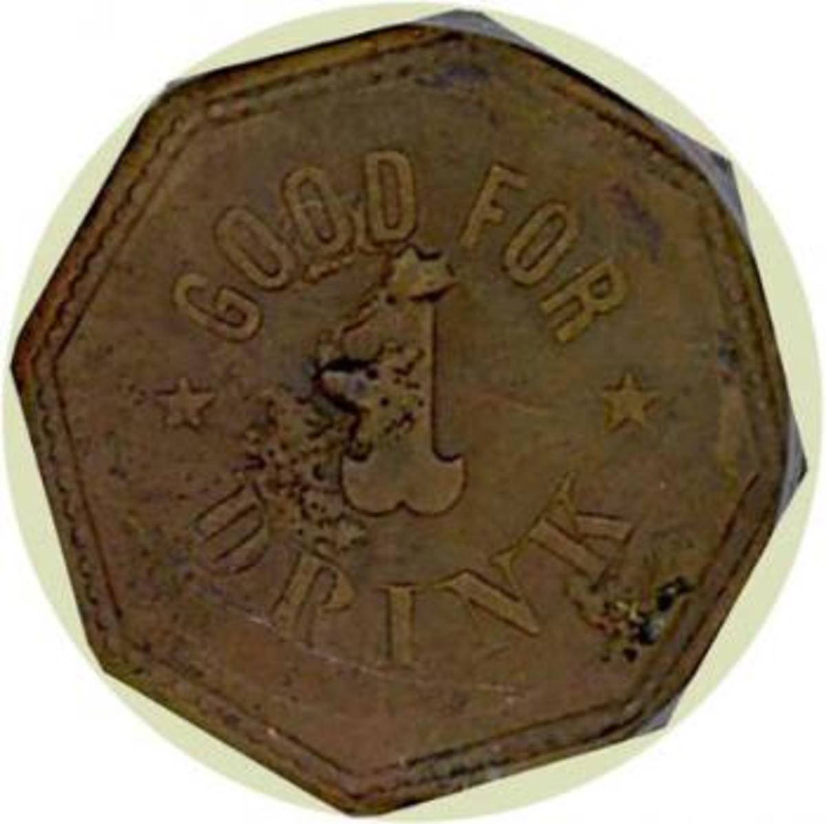 This authentic token from a saloon in Congress, Arizona is a desirable collector's item. Image copyright Holabird-Kagin Americana, used with permission.
