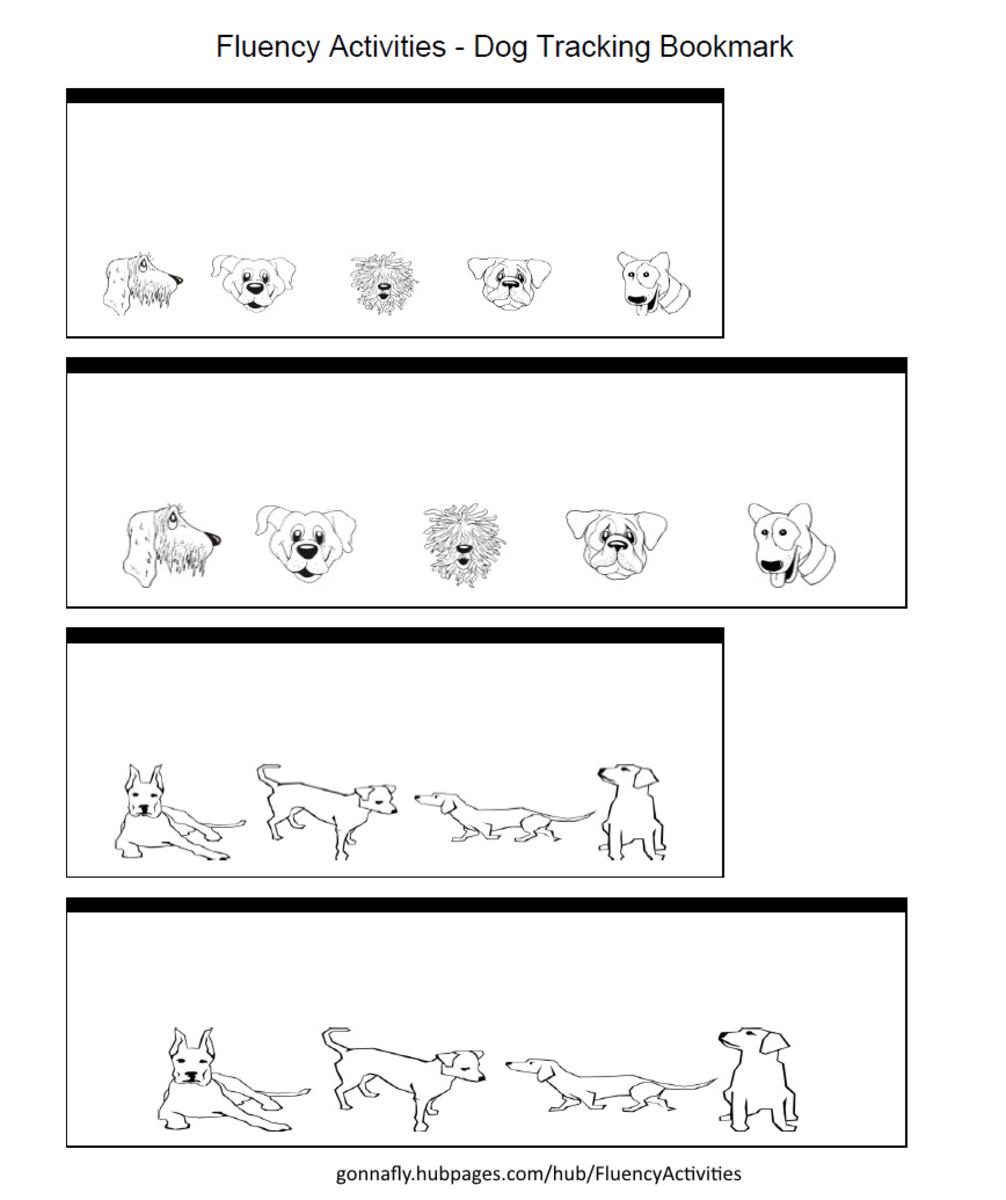 dog tracking bookmark to improve reading fluency