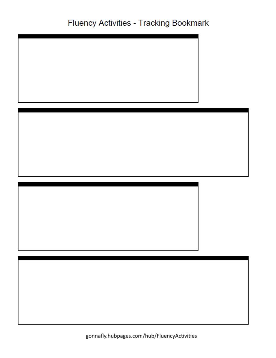 plain tracking bookmark to improve reading fluency