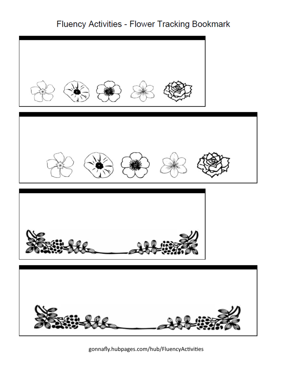 flower tracking bookmark to improve reading fluency