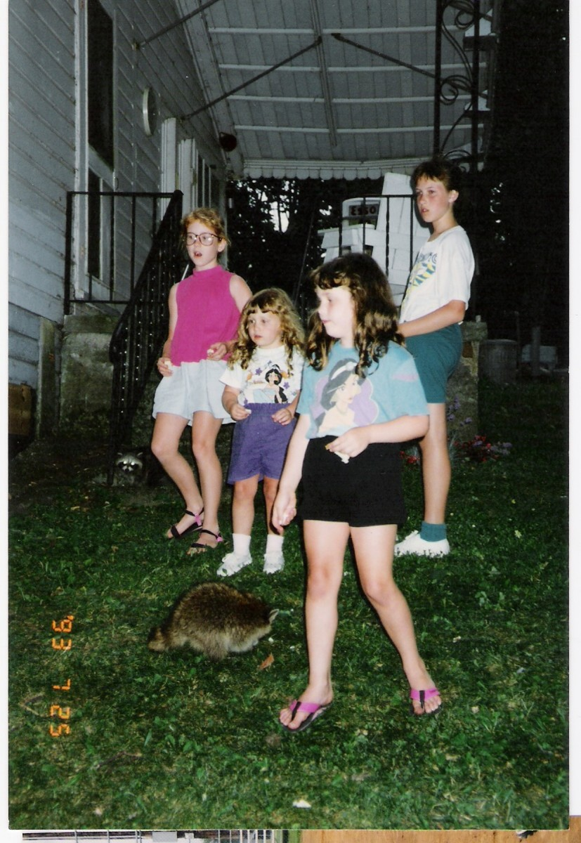 Also in '93 feeding the raccoons!