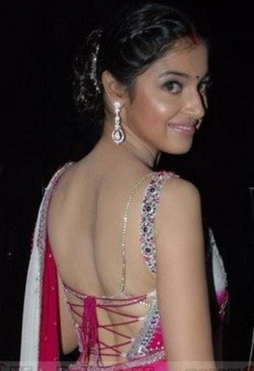 Sexy saree blouse back