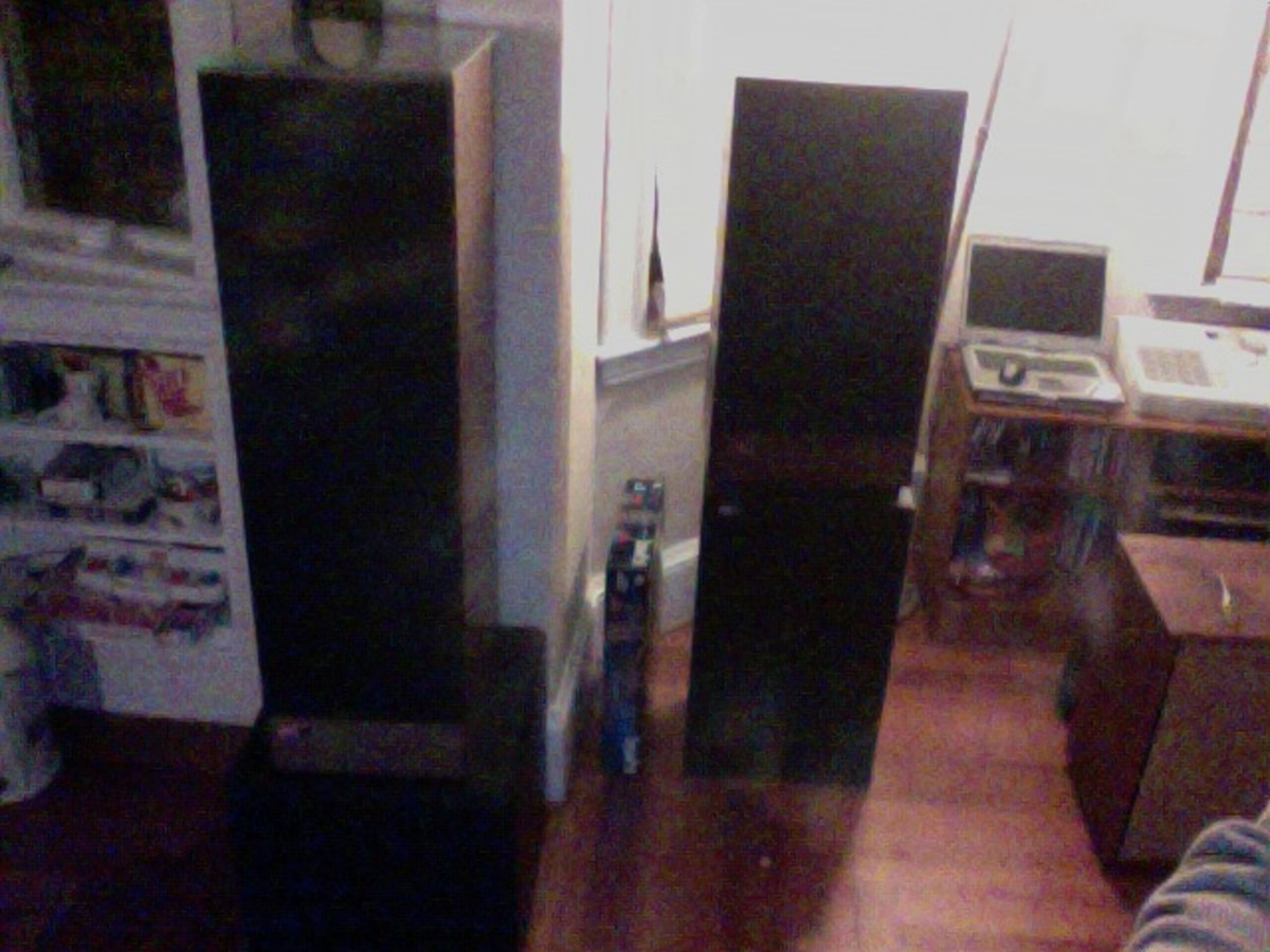 My left Studio Monitor, in situ. sitting to the right of the S.M. tower is my left Mcintosh XR-14 and CSW SW1 subwoofer.