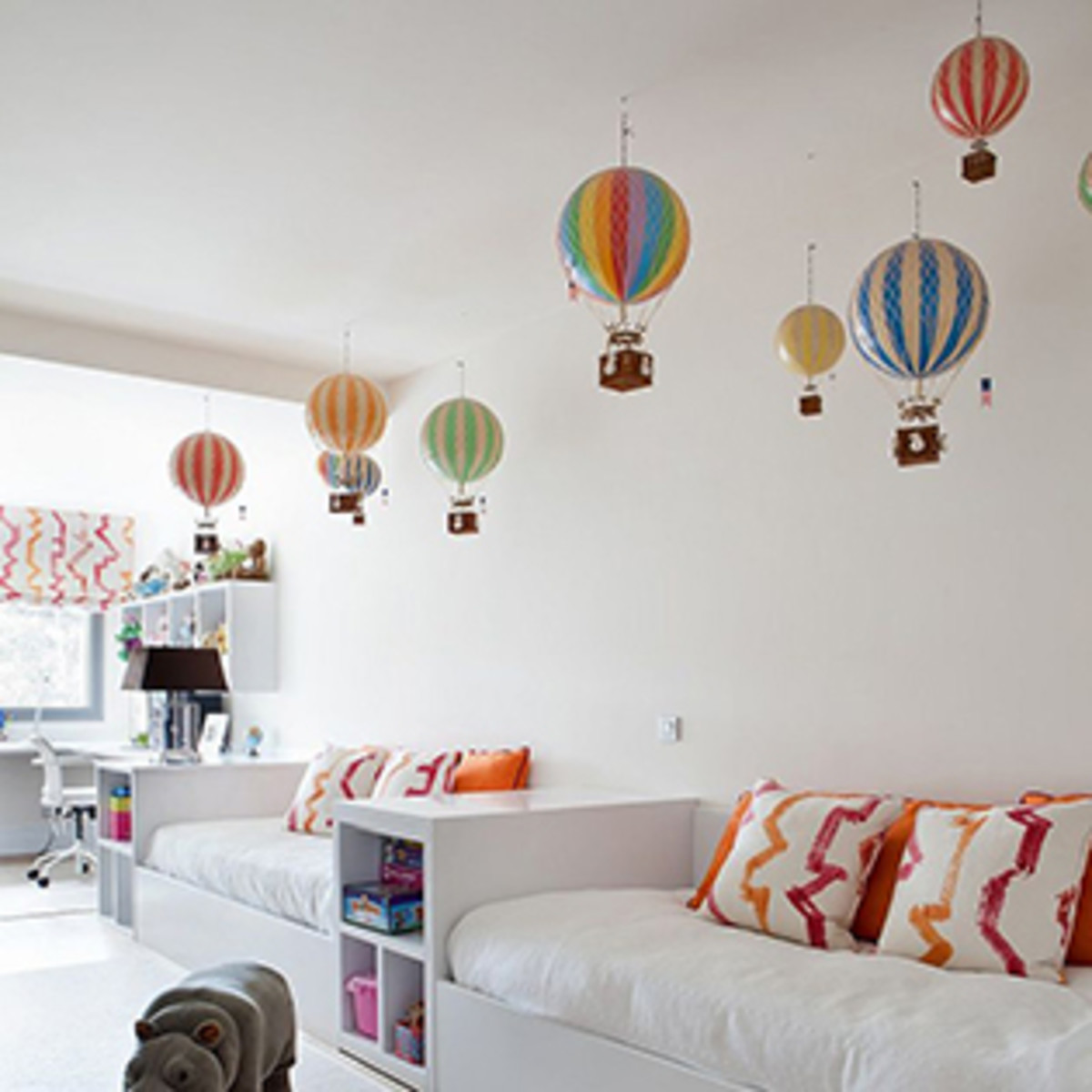 Even in a modern setting these Authentic Models Hot Air Balloons are perfect for a pop of color.
