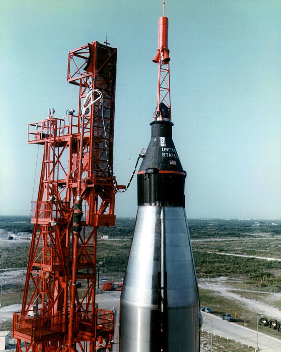 Mercury Spacecraft atop an Atlas-D booster. Photo courtesy of NASA.