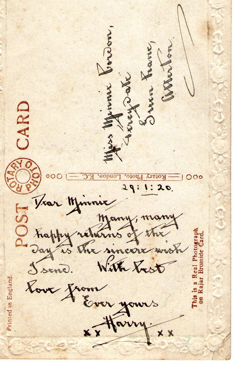 Postcard 1920 2 Reverse