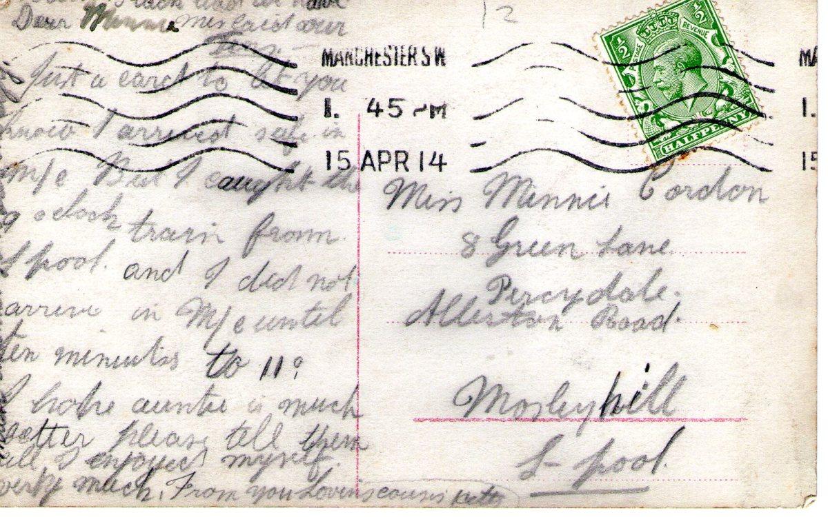 Postcard 1914 5 Reverse