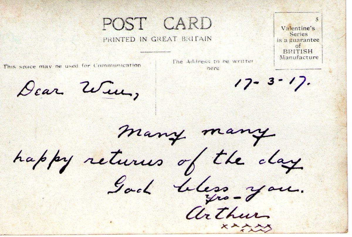 Postcard 1917 3 Reverse