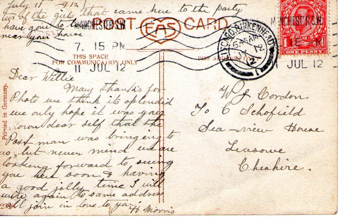 Postcard 1912 2 Reverse