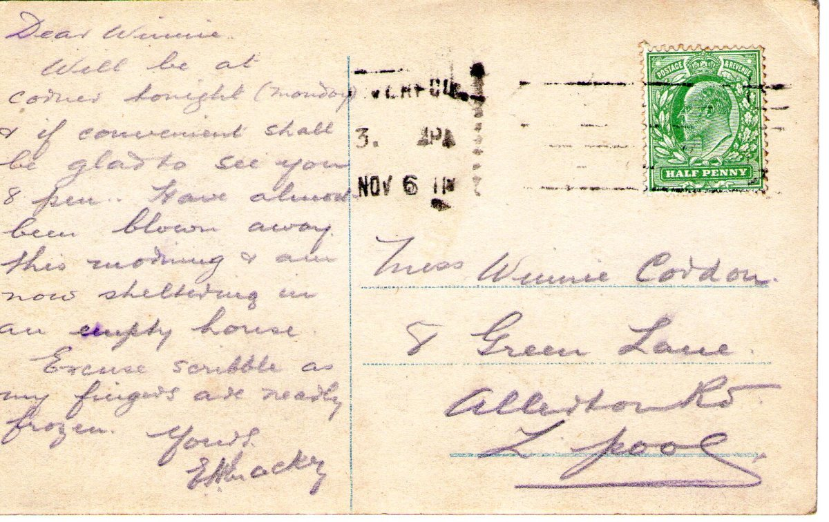 Postcard 1911 2 Reverse