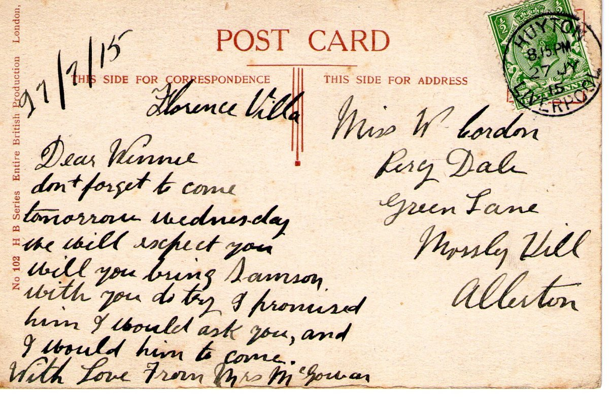 Postcard 1915 4 Reverse