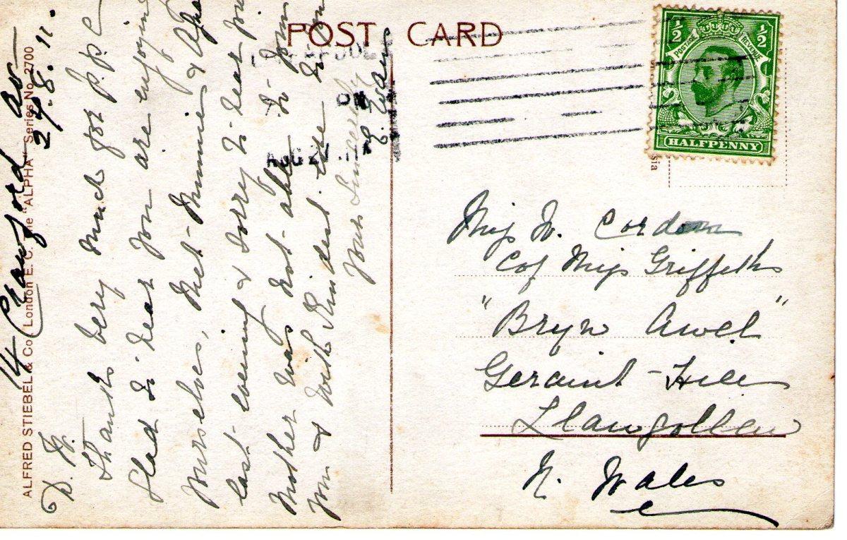 Postcard 1911 4 Reverse