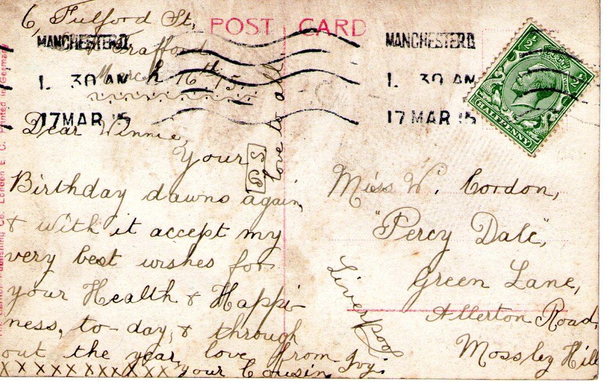 Postcard 1915 14 Reverse