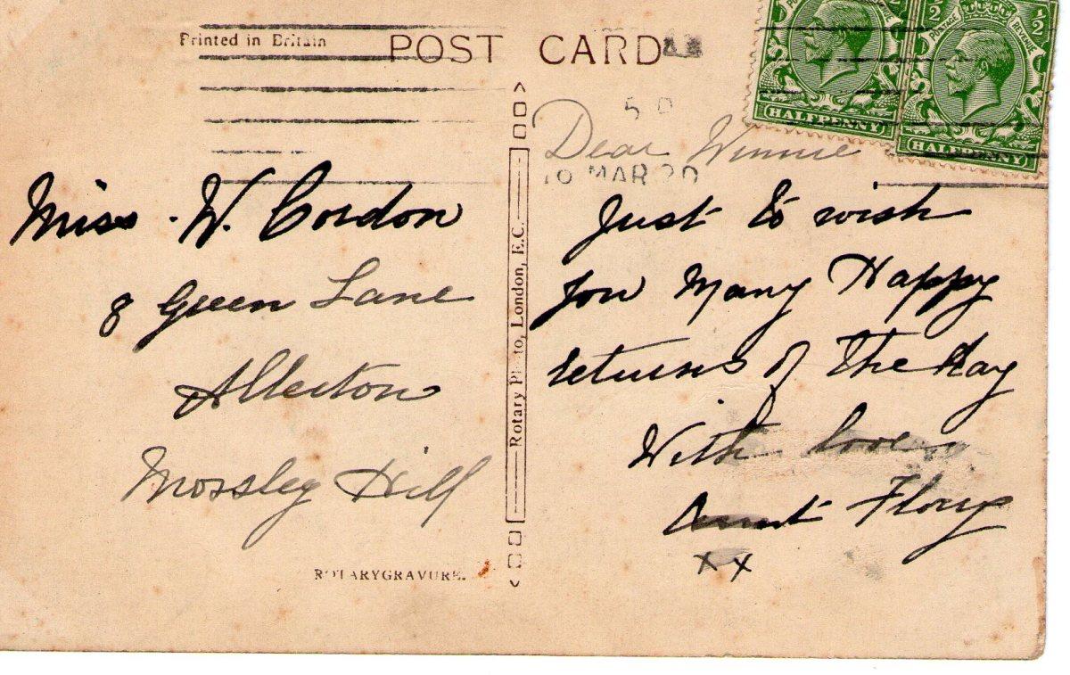 Postcard 1920 3 Reverse