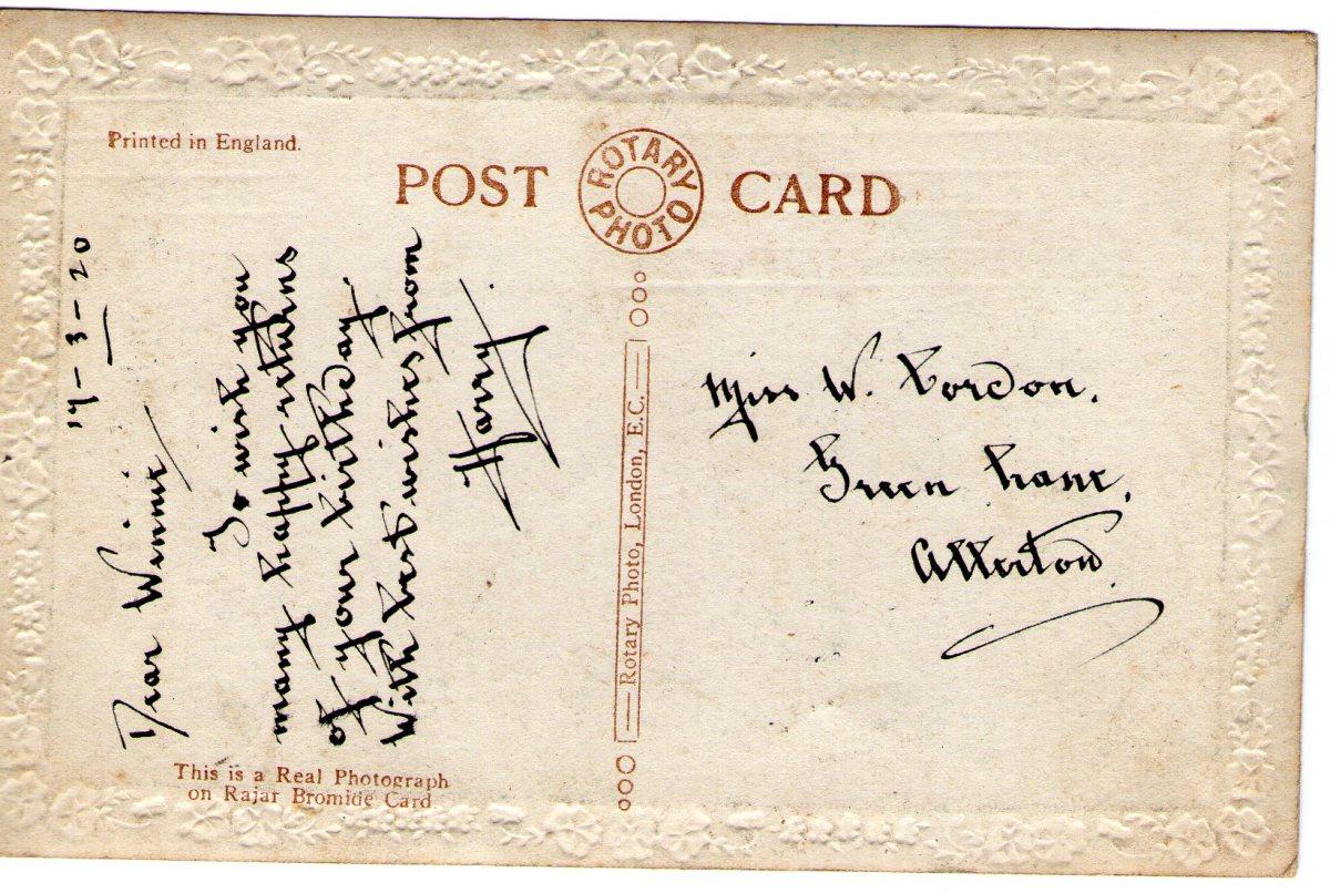 Postcard 1920 1 Reverse