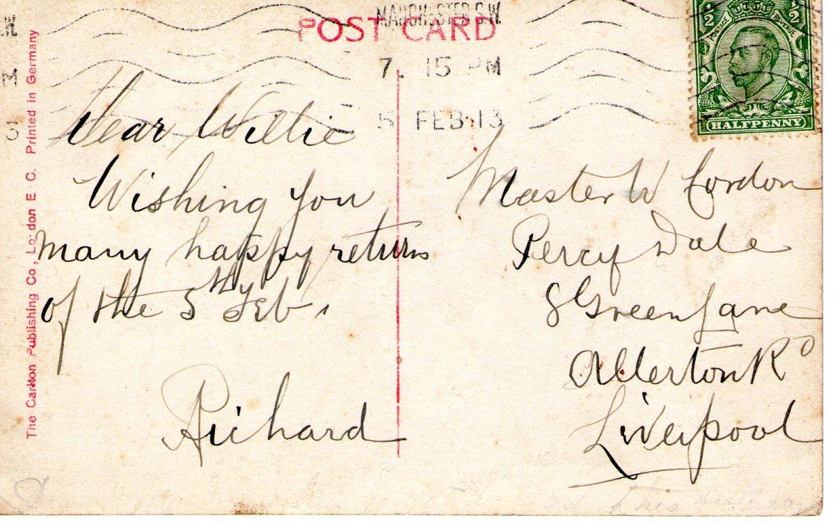 Postcard 1913 2 Reverse