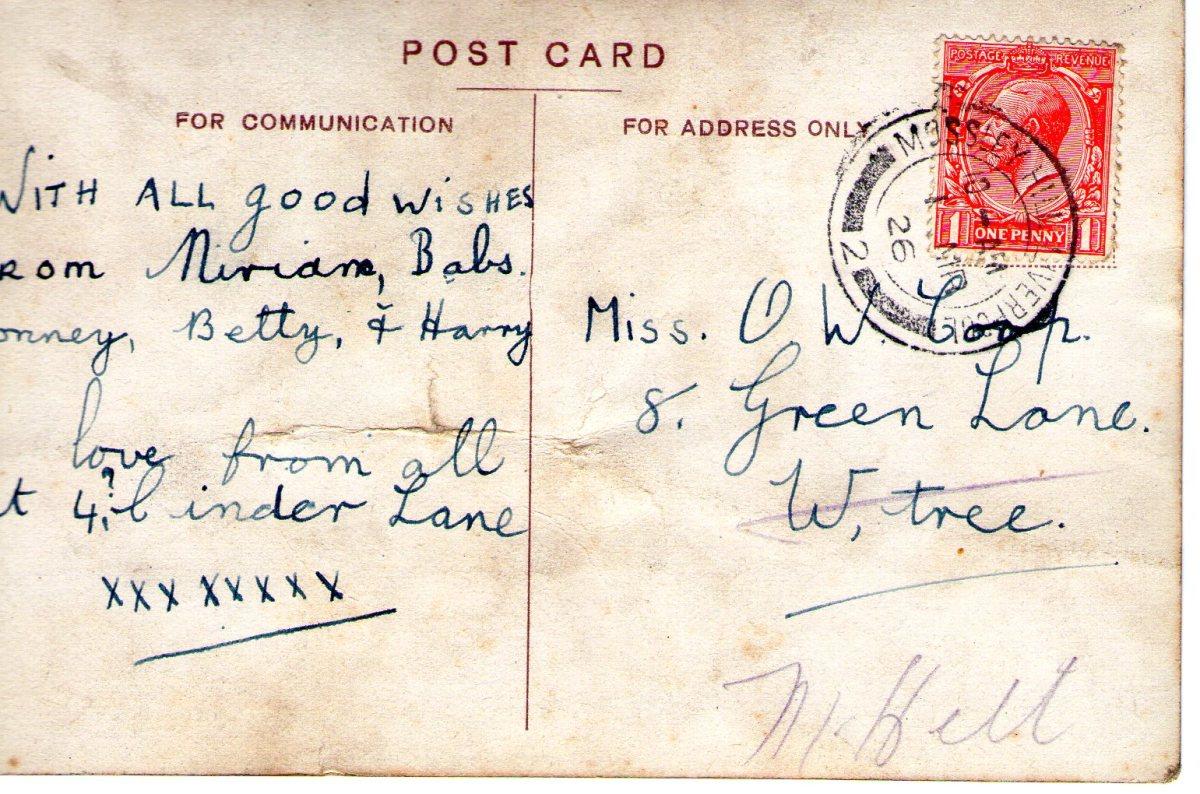 Postcard 1926 1 Reverse