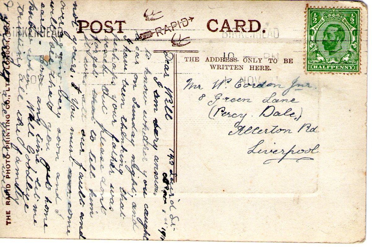 Postcard 1911 5 Reverse