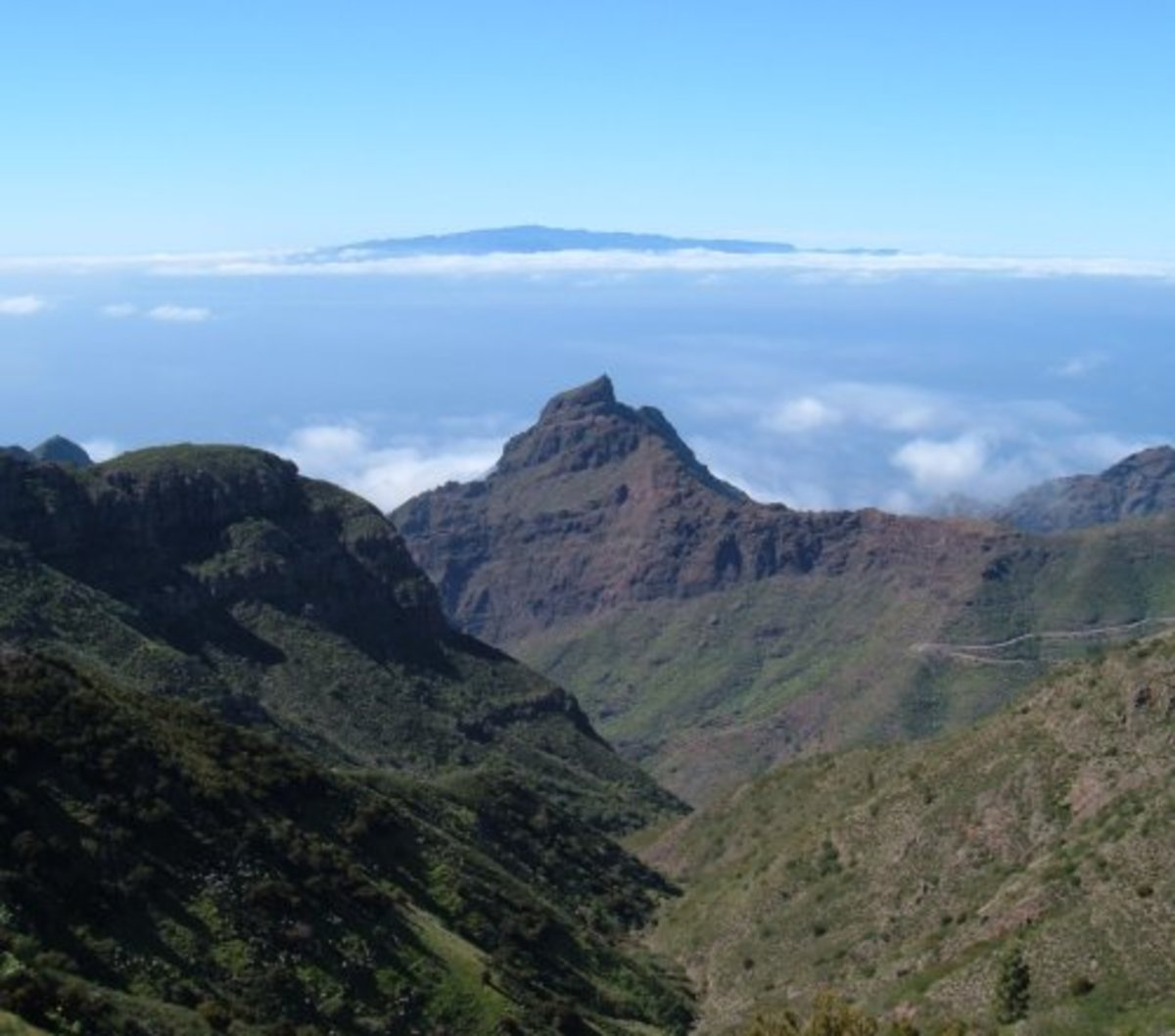 Mountains and valleys near Masca. La Gomera in the background. Photo by Steve Andrews