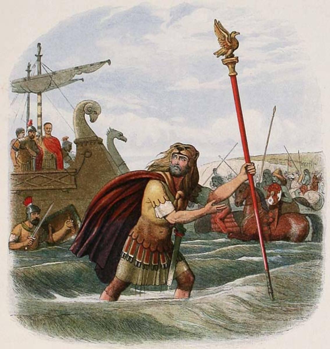 A Roman Standard Bearer Leads Troops Ashore